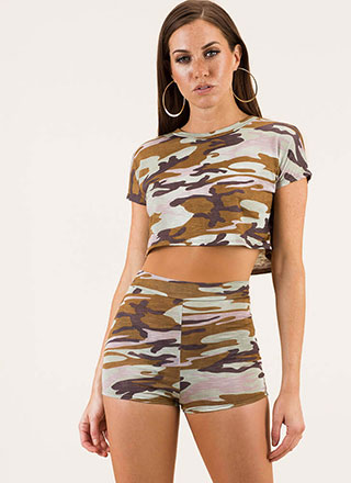 New Recruit Camo Top And Shorts Set