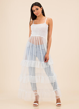 Long For You Ruffled Sheer Mesh Top