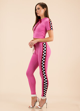 Top Speed Checkered Top And Legging Set