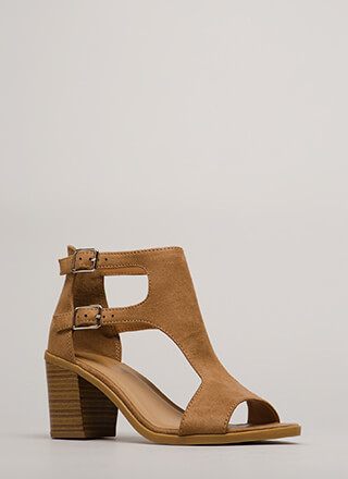 Chic City Cut-Out Peep-Toe Block Heels