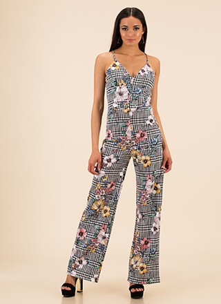 Mixed Flowers Plaid Wide-Leg Jumpsuit