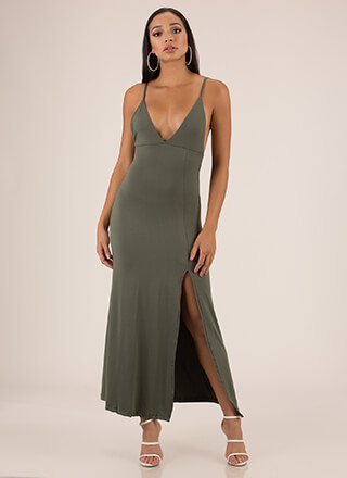 Take A Look Plunging Slit Maxi Dress