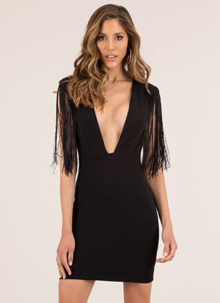 On My Shoulders Plunging Fringed Dress