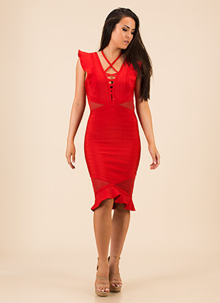 Cross Fire Ruffled Bandage Dress