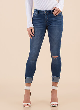 Just Perfect Cuffed Skinny Jeans
