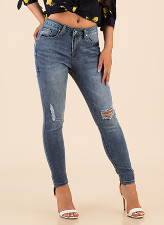 A Little Distressed Denim Skinny Jeans