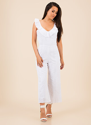 Open Your Eyelets Ruffled Jumpsuit