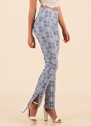 Grid To Be Alive Slit Plaid Pants