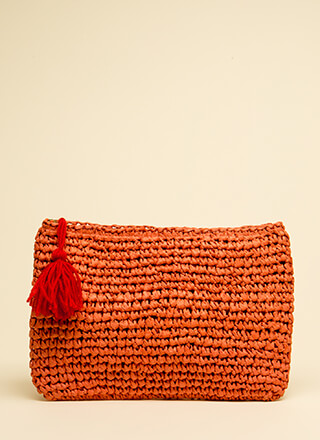Gift Basket Tasseled Woven Clutch
