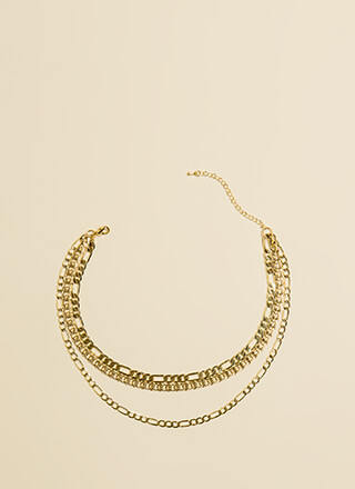 One Two Three Layered Chain Choker