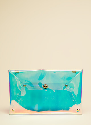 Clearly Cool Iridescent Envelope Clutch