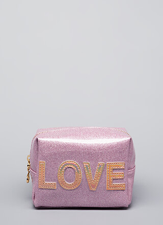 Love Your Face Glittery Makeup Pouch