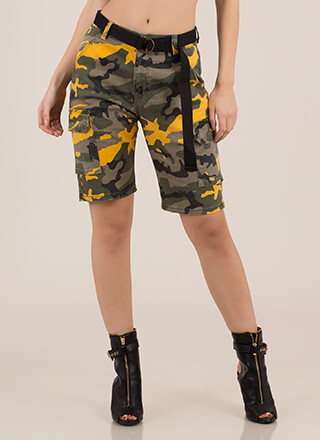 Take Command Belted Camo Cargo Shorts