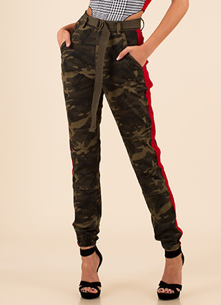 Call Of Camo Striped Belted Joggers