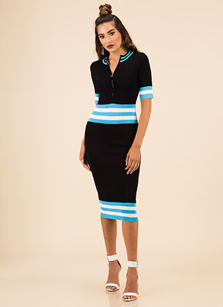 Stripe For The Best Zip-Front Knit Dress