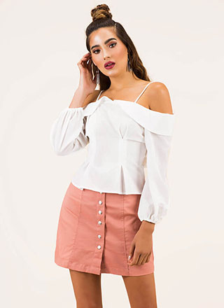 So Sweet Tie-Back Cold-Shoulder Top