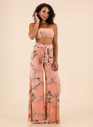 Scroll Up Strapless Top And Pant Set