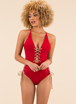 All Tied Up Plunging Lace-Up Swimsuit