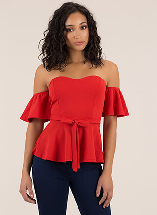 Truth Or Flare Tied Off-Shoulder Top