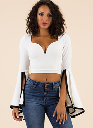 Dramatic Flare Bell Sleeve Crop Top