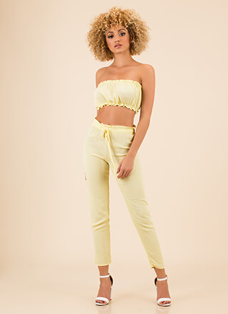 Small Frills Tube Top And Pant Set