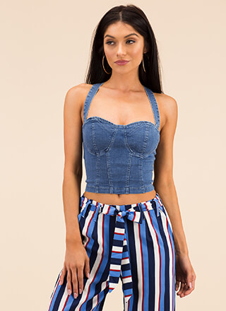The Sexy Jean Denim Bustier Crop Top