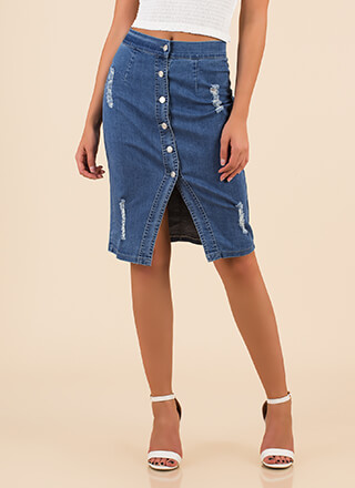 Button Your Lip Distressed Denim Skirt
