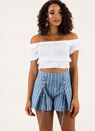 Pretty Pinstripes Flared Lace-Up Shorts