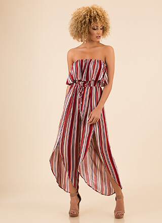 Vacation Spot Strapless Striped Jumpsuit