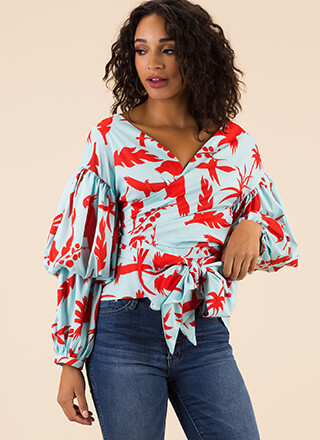 Take It Tropical Wrapped Puff Sleeve Top