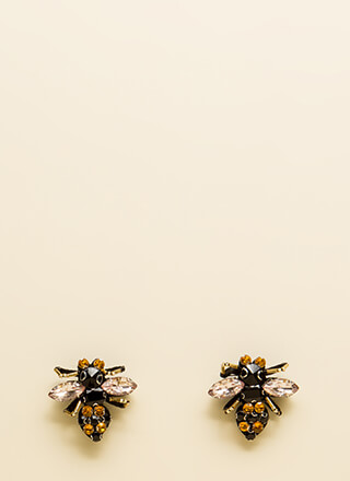 Buzz-Worthy Jeweled Bee Charm Earrings