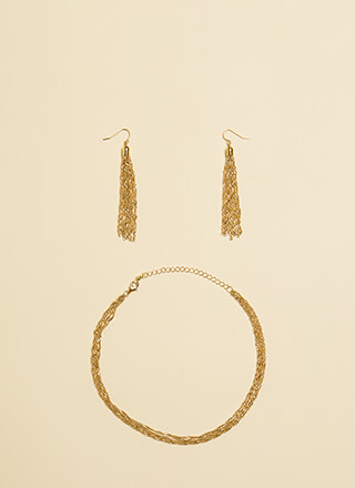 In Chains Choker And Tassel Earring Set