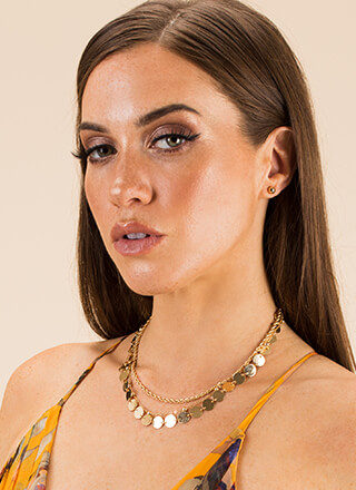 Disc Fever Layered Chain Choker Set