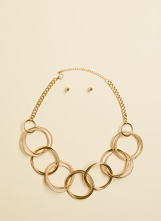 Hoop Dreams Linked Ring Necklace Set