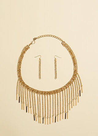 Chains On Chains Fringe Necklace Set