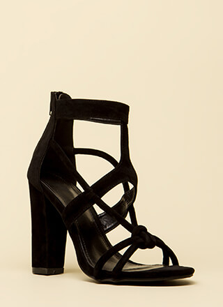 Loop Dreams Chunky Cut-Out Velvet Heels