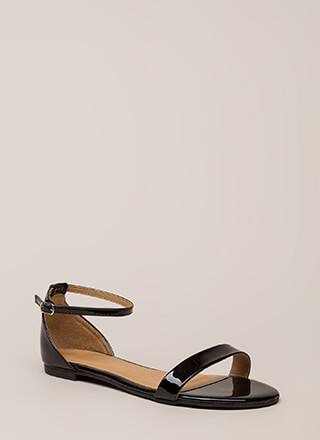 Splendid Faux Patent Ankle Strap Sandals