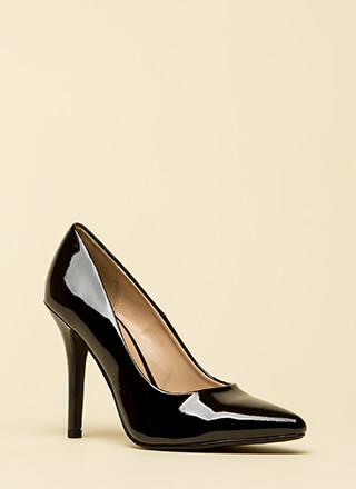 I've Got A Date Pointy Faux Patent Pumps