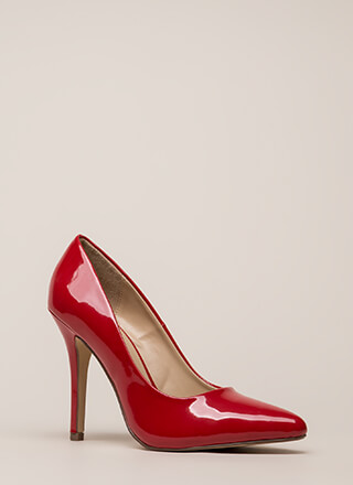 I Have A Date Pointy Faux Patent Pumps