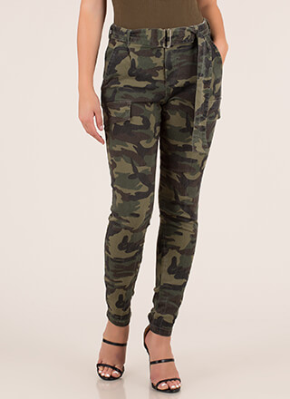 Hidden Agenda Belted Camo Pants