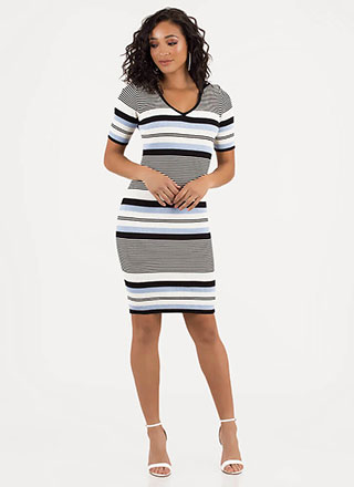 Thru Thick And Thin Striped Knit Dress