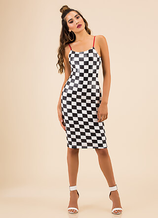 Ready Set Go Checkered Midi Dress