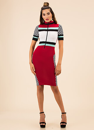 Takeoff Checkered Colorblock Dress