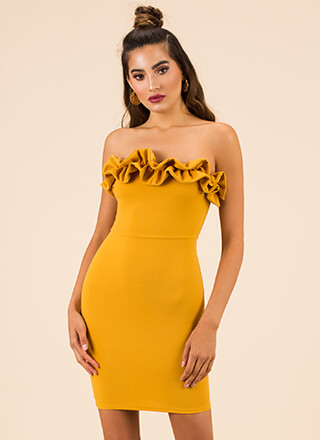 What A Frilling Ruffled Strapless Dress