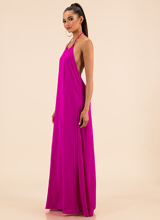 Sweeping Victory Halter Maxi Dress