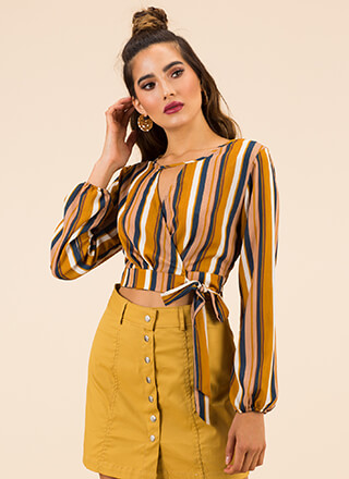 Going Abroad Striped Wrapped Crop Top