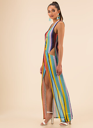 Beach Day Striped Cross-Front Maxi