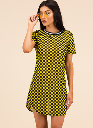 Checker Champion Mesh Shirt Dress