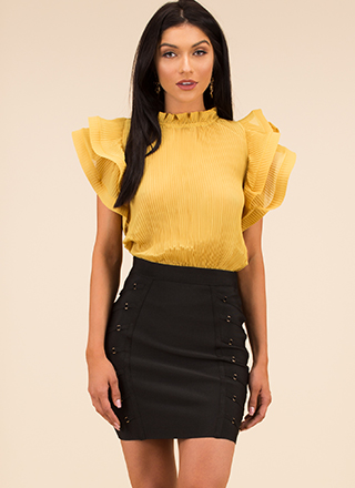 Absolute Frill Pleated Ruffled Blouse