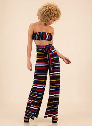 Stripe-Out Top And Palazzo Pant Set